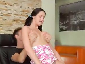 Pigtailed Girl Next Door Fucked Up Her Shaved Vagina