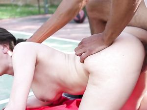 Tennis Court Cumshot After An Interracial Slam