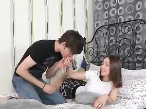 Turned On Teen Girlfriend Rides His Erect Cock
