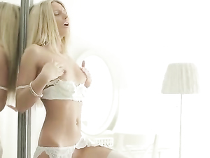 Masturbating In Her White Lingerie With Her Dildo