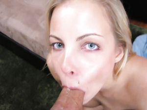 Sexy Wet Close Up Blowjob From A Blue Eyed Blonde Cutie