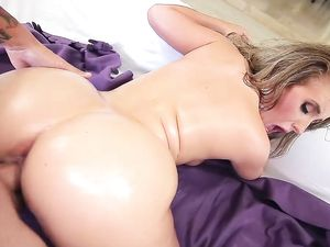 Facial Cumshot For An Oiled Up Big Booty Bombshell