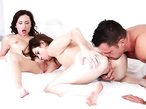 Big Cock Spews A Load For Cute Girls To Swap